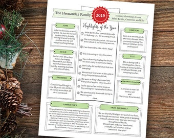 """Year In Review / Christmas Letter Template in PDF for Print / Text Only / """"Notes in Green"""" / Text Only / Adobe Reader Required"""