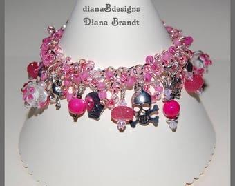 Pink skulls charm bracelet 1PS,day of the day jewelry,gothic charm bracelet,teen tween jewelry, halloween charm bracelet, pink lampwork