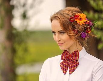 ON SALE -30% !!! Women bright summery Bow Tie / rustic wedding women accessorie