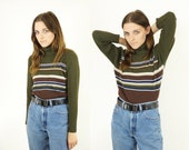 Ribbed 90s Striped Turtleneck, 90s Hunter Green Striped Turtleneck, 90s Long Sleeve Tops, 90s Colors, Women's Size Large