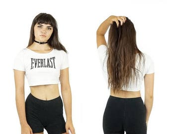 ON SALE Vintage 90s Everlast Crop Top, 90s Spell Out Logo Top, Women's Athletic Crop Top, Workout Logo Top, Women's Size Small
