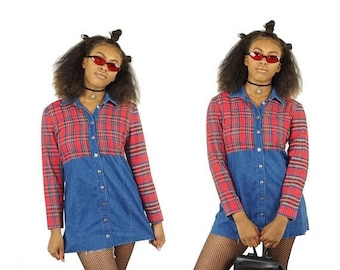 ON SALE Red Plaid and Denim 90s Button-Down Long Sleeve Dress, 90s Grunge Mini Dress, Vintage Plaid, Women's Size 10 Medium/Large