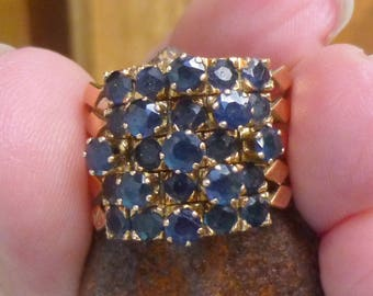 Three carats of  natural Sapphires....heavy....Wide 15.6mm band....6.9 grams of 14KT yellow gold