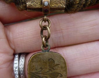 BEAUTIFUL Victorian Hair Watch Chain with opal, garnet and fob  BEAUTIFUL LOCKET