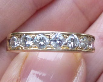 Estate 14kt  yellow Gold 7  diamond ring heavy 4.6 grams  and  .84 points of natural diamonds TONS of SPARKLE