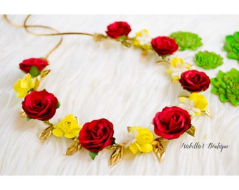 Red Yellow Princess ladybug Gold White Floral Crown - First Birthday Floral Halo Floral Boho Headband Newborn Photo Prop Shabby Chic