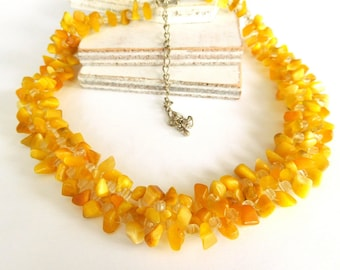 Vintage Golden Yellow Cat's Eye Glass Bead Wide Woven Cluster Necklace Z44