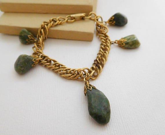 Vintage Green Moss Agate Gemstone Charm Gold Tone Chain Bracelet ZZ24