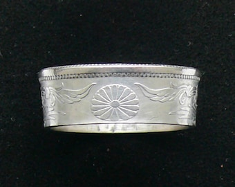 Ladies Silver Coin Ring 1924 Japan 50 Sen, Ring Size 6 1/2 and Double Sided