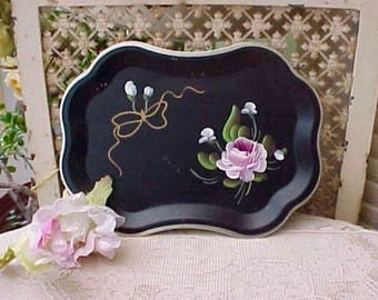 Sweet Little Black Tole Painted Metal Tray with Pink Rose