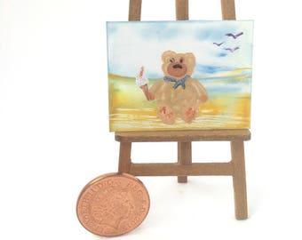 Teddy beach ice cream Painting Miniature Dolls House Picture Original Art In Wax