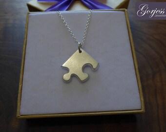 Chunky Puzzle Pendant - Friendship Necklace - Silver Corner Puzzle Charm