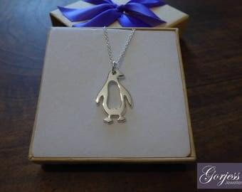 Argentium Silver Penguin Pendant Necklace Handmade, Chunky