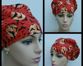 Mini - Chemo Cap - Nurses Hat - European Style -Batts/Moonlight Madness - Pumpkin Orange/Black - 100% cotton