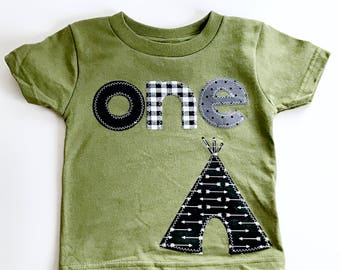 Boys First Birthday shirt happy camper camping teepee tent woodland wild one one bear