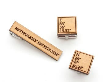 Wood Cufflinks and Tie Clip Set - Fifth Anniversary Gift for Men  - Latitude Longitude Cufflinks and Tie Clip - Eco-Friendly Gifts