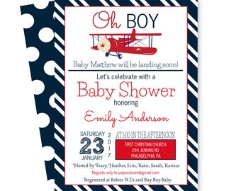 Airplane Baby Shower Invitation Classic - Boys - Landing Soon Sprinkle - Navy Stripe Invites - Printable - Customized Template (AIRPLBSI)
