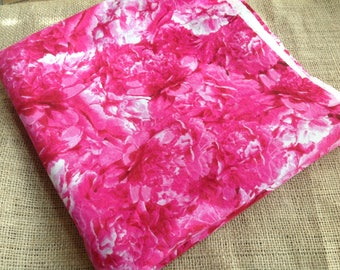 Hot Pink and White Large Floral Print Cotton Fabric
