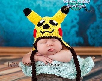 SUMMER SALE Pokemon Pikachu Hat - Crochet Newborn Beanie Boy Girl Costume Preemie Halloween  Photo Prop Christmas Gift Winter Outfit
