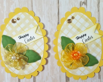 Two Easter Egg Scrapbook Embellishments, Easter Card Topper, 3d, paper piecing, Banner, Gift Tag, Die Cut