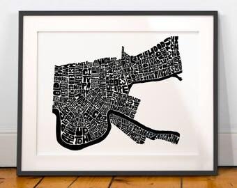New Orleans map art, New Orleans art print, New Orleans typography map, New Orleans wall decor, Hand-drawn typography map art signed print