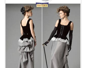 Butterick 5969 Pattern - Corset and Bustle Skirt, Steampunk, Costume,Size 14-22-uncut