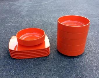 Bjørn For Design -- Modern orange Melamine dining set -- Rosti Mepal of Denmark