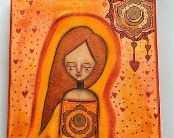 Sacral Chakra Girl Art Work. Mixed media artwork. Original Art for Sale, Original Art Work, Fine Art, Original Painting, Gift Women