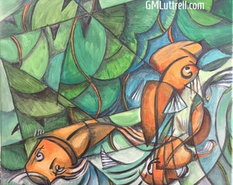 "Koi Original acrylic painting by GMLuttrell 12""x12"" cubism wildlife pond goldfish"
