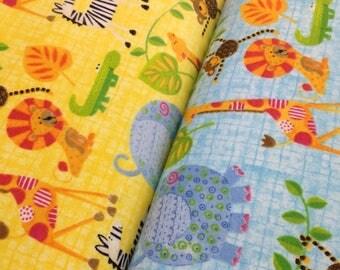 Jungle Safari zoo Baby flannel,giraffe, zebra, elephant, lion, monkey  yellow or blue fabric by the yard, jungle fabric, zoo animals