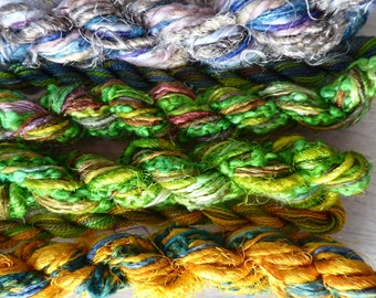 6 skeins of hand dyed silk threads a great mix of weights and textures - threads 43