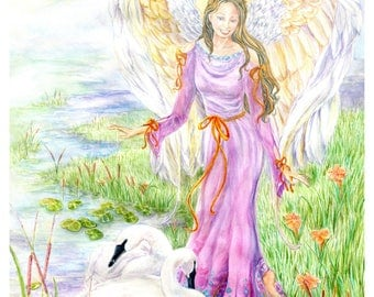 Original Angel Art in Mauve, Purple, Magenta Gown with Swans by a Lake, Catttails,Angel Art Print, 12x16 inch,Watercolor