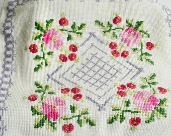 "Cross stitched cushion cover, vintage Swedish embroidery, pillow case , 13 "" x 13 """