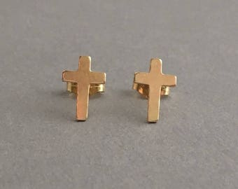 Cross Post Earrings Gold Fill or Sterling Silver