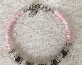 Amethyst and Matte Crackle Rock Crystal Beaded Memory Wire Bracelet
