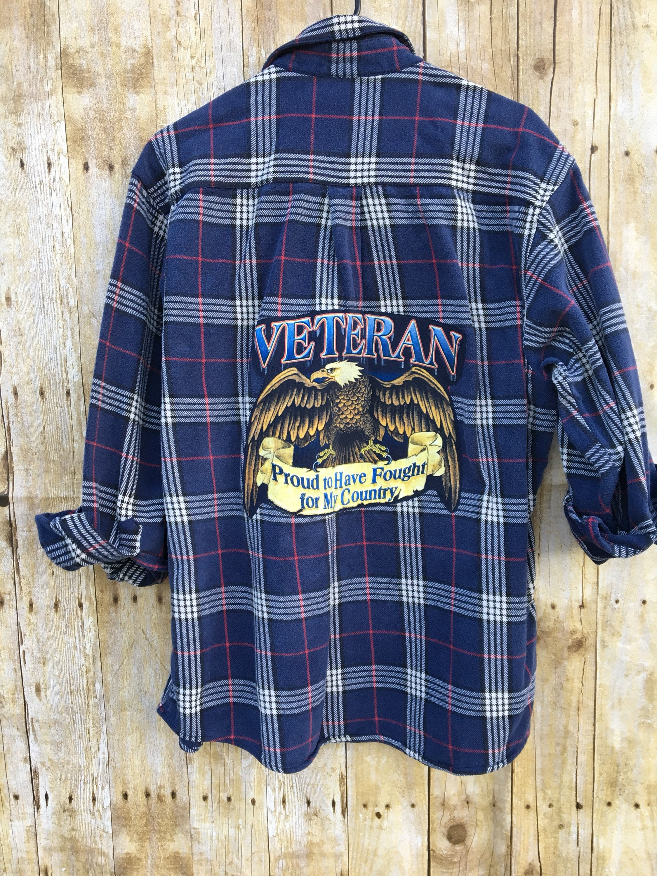 Upcycled Flannel Shirt With Back Patch From Recycled T Shirt