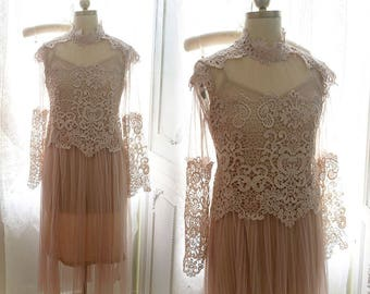 LOVE Victorian Collar  Romantic Wedding Gown Pale nude beige Pink lace tulle long ruffles pleat dress crochet Sheer + slip dress 2 pcs set