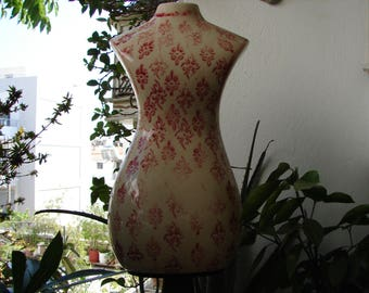 vintage, large ceramic mannequin bust on wooden turned base, aged red floral pattern,dark wooden stand-gorgeous shabby chic