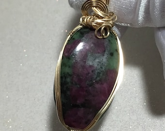 Ruby in Zoisite PENDANT- 14k Gold Fill - w/ necklace 83ct -2745g1 Jewelry