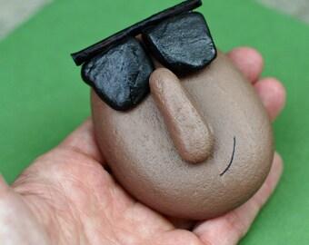 Cool dude face rock, painted pebble, rock, garden stone, terrarium, father, dad, sunglasses, face on rock, sculpture, paperweight, sun