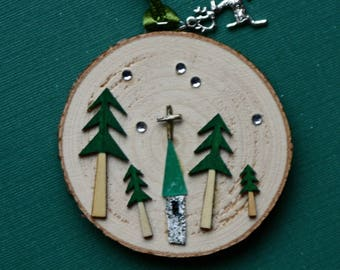 Church Christmas tree ornament on birch wood tree slice, church in woods, snow, green, whimsical, evergreens, gold cross, hand made