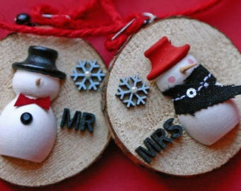 Mr and Mrs snowman ornaments on wood slices, black and white, wedding, shower, just married, whimsical, birch slice, wood, handmade