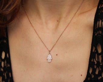 Hamsa Necklace, 14K Rose Gold Necklace, Diamond Pendant Necklace, Hamsa Hand Pendant, Gold Pendant, Diamond Necklace
