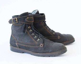 Vintage 90's Women's Black Laced Suede Ankle Boots UK 6.5 EU 40 US 8.5