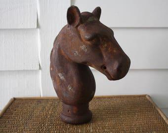 antique cast iron horse head post cap, rustic farmhouse horse head, Texas farmhouse