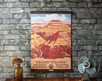 WPA Grand Canyon National Park / Vintage Pull Down Reproduction / Canvas Fabric or Paper Print / Oak Wood Hangers with Brass Hardware