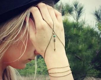 VACATION SALE arrow turquoise slave bracelet, arrow hand chain, arrowhead bracelet, bracelet ring, ring bracelet, tribal bracelet