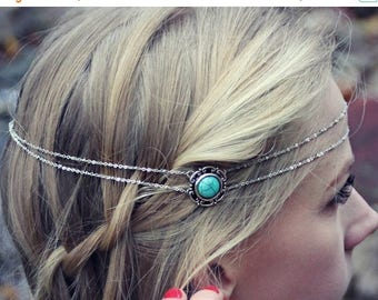 VACATION SALE silver and turquoise head piece, chain headband, turquoise headband, metal headband, unique headband