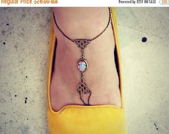 VACATION SALE pink opal anklet, slave anklet, body jewelry, toe ring, unique anklet, barefoot sandal