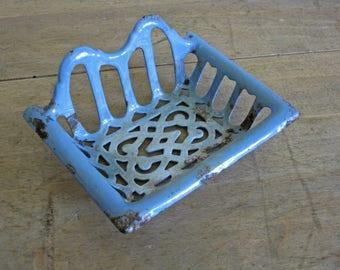 French enamel soap dish, powder blue enamelled soap holder